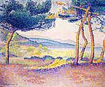 Henri-Edmond Cross: Fenyőfák a  part mentén (id: 12056) poszter