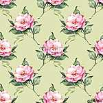 Floral pattern. Pink watercolor flowers on green background 22 (id: 14156)