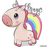 Cute Cartoon Unicorn and a rainbow on a white background (id: 18756)