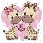 Two Cartoon Giraffes on a heart background (id: 19056)