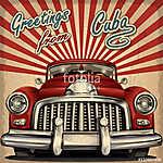 Vintage touristic greeting card with retro car.Cuba. (id: 19156)