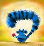 Kék csíkos macska rózsaszín Asterrel (id: 5256) vászonkép