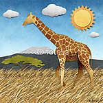 Zsiráf Safari területén újrahasznosított papír háttér (id: 6256) falikép keretezve