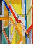 Albert Gebhard: absztrakt akvarell festmény (id: 7656) vászonkép óra