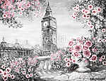 Olajfestmény, nyár Londonban. kedves városi táj. virág ro (id: 10257)
