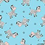 Zökkenőmentes aranyos zebra mintázat. Vektor háttér gyerekeknek, (id: 11357) többrészes vászonkép