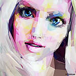 Low poly abstract portrait of the blonde with blue eyes vászonkép, poszter vagy falikép