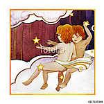 Astrological sign of the zodiac Gemini - two boys, on a dark  pa (id: 15157) többrészes vászonkép