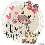 Cute Cartoon Giraffe with flower (id: 19057) vászonkép óra