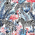 akvarell flamingó, zebra és pálma levél trópusi mintázattal  (id: 4557)