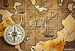 Iránytű a térképen (id: 9957) többrészes vászonkép