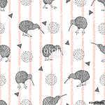Trendy divatos csíkos nyomtatás aranyos kivi madárral. Vektor cs (id: 11358) tapéta