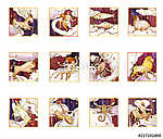 Set of twelve signs of the zodiac, watercolor in retro style. Is (id: 15158) vászonkép