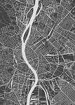 Budapest city plan, detailed vector map (id: 15258) vászonkép óra
