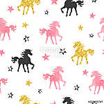 Seamless unicorn pattern. Vector background with watercolor unicorns and stars. (id: 18658) tapéta