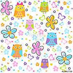 Colorful flowers vector pattern wit owls, butterflies and colorful flowers. Floral pattern illustration (id: 19358) többrészes vászonkép