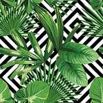 Zöld levelek geometrikus háttéren 2. (id: 22158) vászonkép