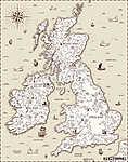 Vector régi térkép, Nagy-Britannia (id: 11959)