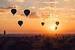 Hőlégballonok Burma felett (id: 17059) többrészes vászonkép
