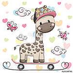 Cute Giraffe with skateboard (id: 19059) tapéta