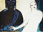 Vaszary János: Akt Buddhával (id: 19859) többrészes vászonkép
