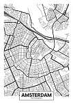 Vektor poszter térkép város Amszterdam (id: 11960)