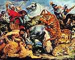Peter Paul Rubens: Tigris és oroszlán vadászat (id: 1360) többrészes vászonkép