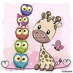 Cute Cartoon Giraffe and owls (id: 19060) többrészes vászonkép