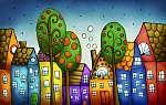 Fantázia színes házak (id: 12261) vászonkép óra