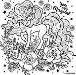 Beautiful unicorn among roses. Black and white. For coloring. For design of prints, posters, tattoos, etc. Vector (id: 18661) falikép keretezve