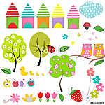 Spring garden vector set (id: 19361) többrészes vászonkép