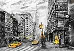 vászon olajfestmény, New York utcai kilátás, férfi és nő,  (id: 10262)