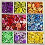 Színes gombok (id: 10662) vászonkép óra