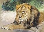 Vastagh Géza: Pihenő oroszlán (id: 19862) vászonkép
