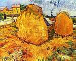 Vincent Van Gogh: Szénaboglyák Provenceban (id: 362) többrészes vászonkép