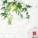 Zöld bambusz kézzel készített rizspapír háttérrel. Hagyományos o (id: 10763) vászonkép