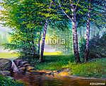 landscape painting of waterfall (id: 16063) vászonkép óra