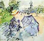 Berthe Morisot: Nő ernyővel a parkban (id: 1963) vászonkép