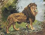 Vastagh Géza: Sétáló oroszlán (id: 19863) vászonkép