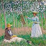 Hoschedé kisasszonyok az erdőben (1887) (id: 2963) falikép keretezve