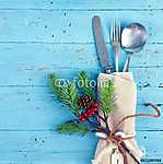 ünnepi karácsonyi evőeszközök kék (id: 6263) vászonkép