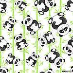 Zökkenőmentes minta aranyos rajzfilm panda medvékkel és bambuszo (id: 11364) vászonkép óra