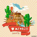 Vector színes kártya Mexikóról. Utazás plakát mexikói it (id: 12764) poszter
