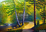 Oil painting landscape , colorful summer forest, beautiful river with a waterfall vászonkép, poszter vagy falikép