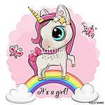 Cartoon Unicorn is on the rainbow (id: 18764) poszter