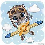 Cute Kitten is flying on a plane (id: 18964) falikép keretezve
