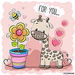 Greeting card Cute Cartoon Giraffe with a flower (id: 19064)