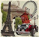 Paris vintage poster. (id: 19164) többrészes vászonkép