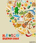 Vector színes kártya Mexikóban. Utazás plakát mexikói it (id: 12765) falikép keretezve