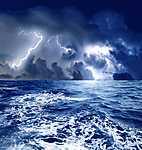 Villámok a tajtékos hullámok fölött (id: 1765) vászonkép